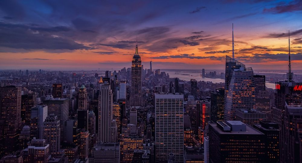 New York city skyline panorama with main attractions on sunset