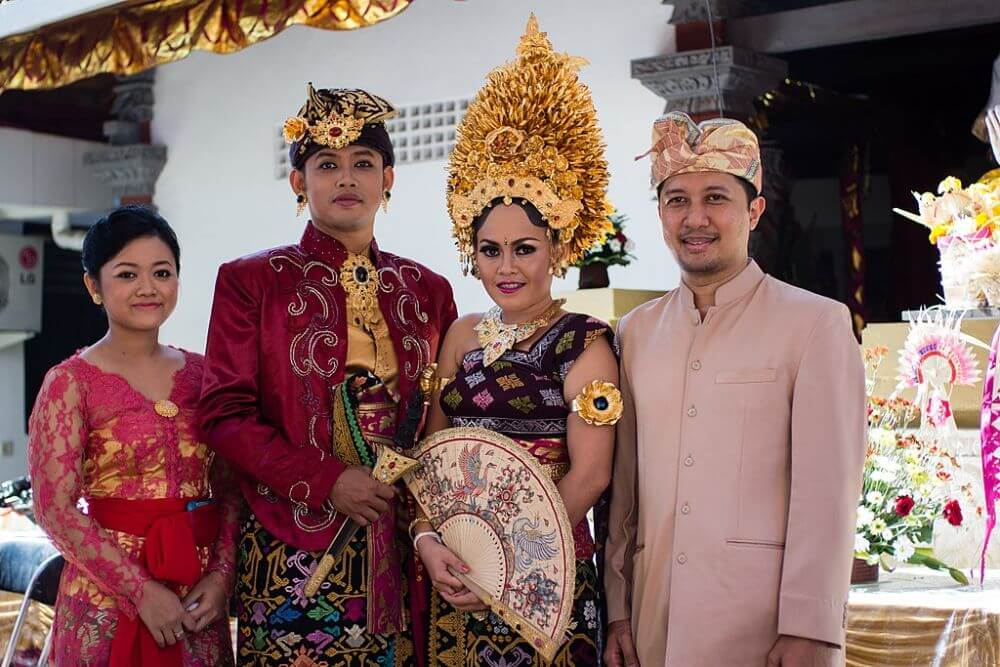 Bali traditional hindu wedding in national dresses in Indonesia