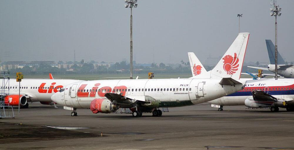 Lion Air Boeing 373 Indonesian local airline plane in the airport