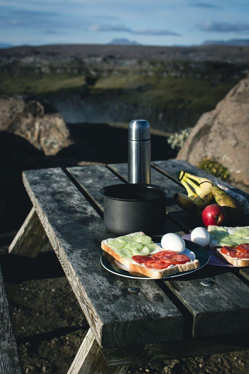 Breakfast for a camping trip with your couple on nature, travel guide