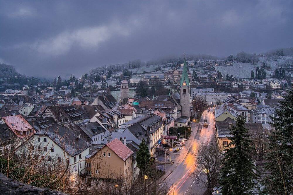 Feldkirch winter resort in Austria, winter evening panorama