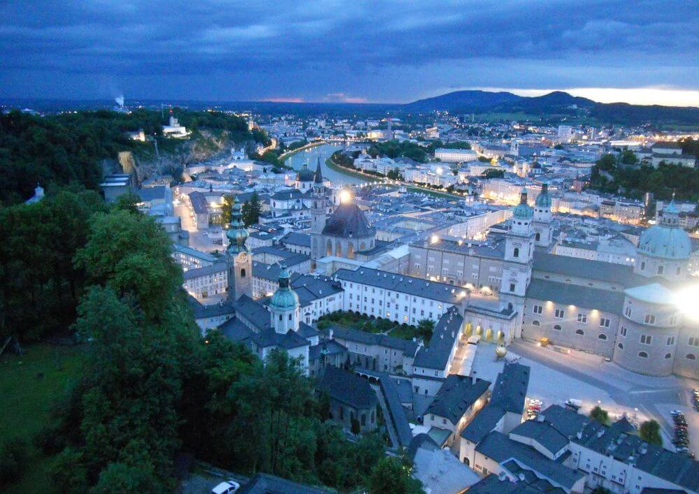 Salzburg city in winter, panoramic view of Austrian city