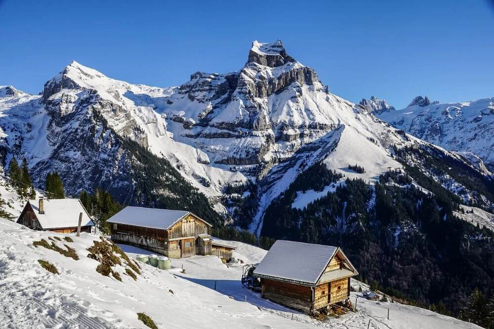 Small village in the snowy mountains in Europe