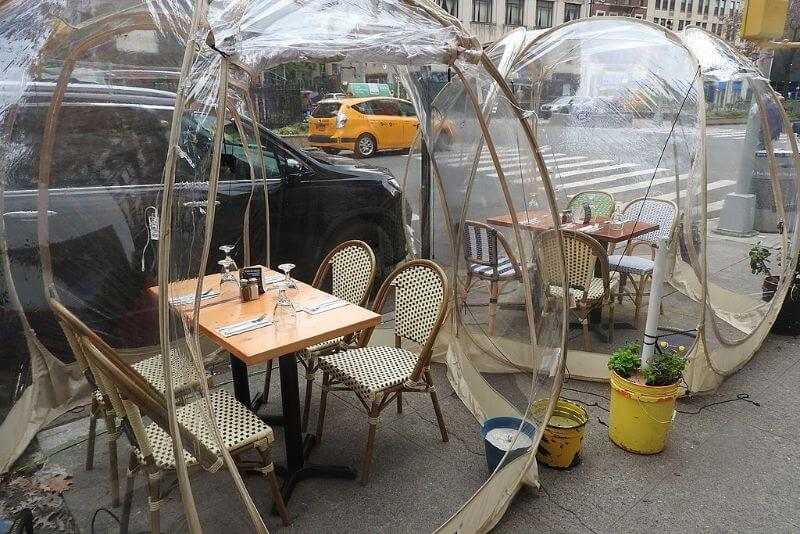 Cafe du Soleil New York City outdoor eating terrace bubble