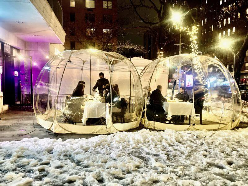 Lucciola Restaurant outdoor bubbles in New York City, winter view