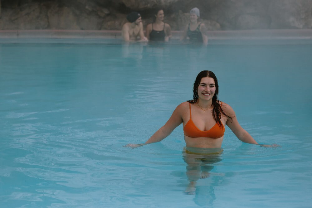 Girl in hot springs water outdoors Banff Canada