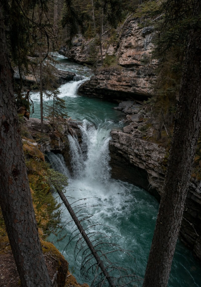 Johnston canyon waterfall in Canada