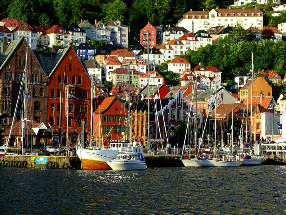 Bergen small Norway town panorama, trip planner