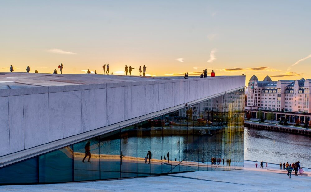 Sunset in Oslo on a weekend, art museum in center