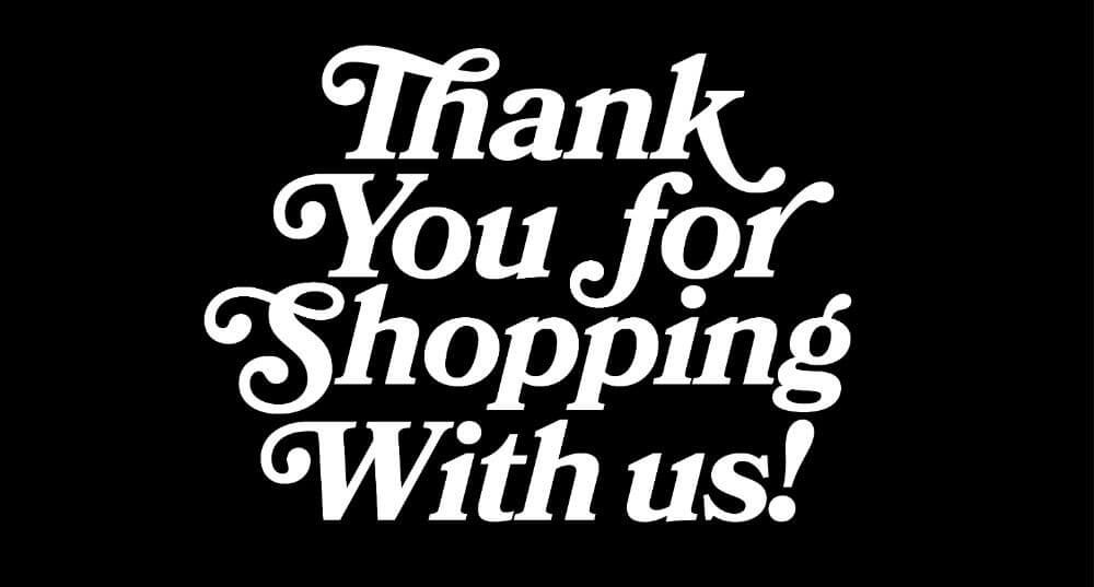 Thank you for shopping note on website