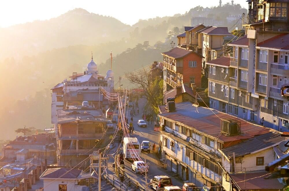 town of Shimla in the Himalayas on sunset