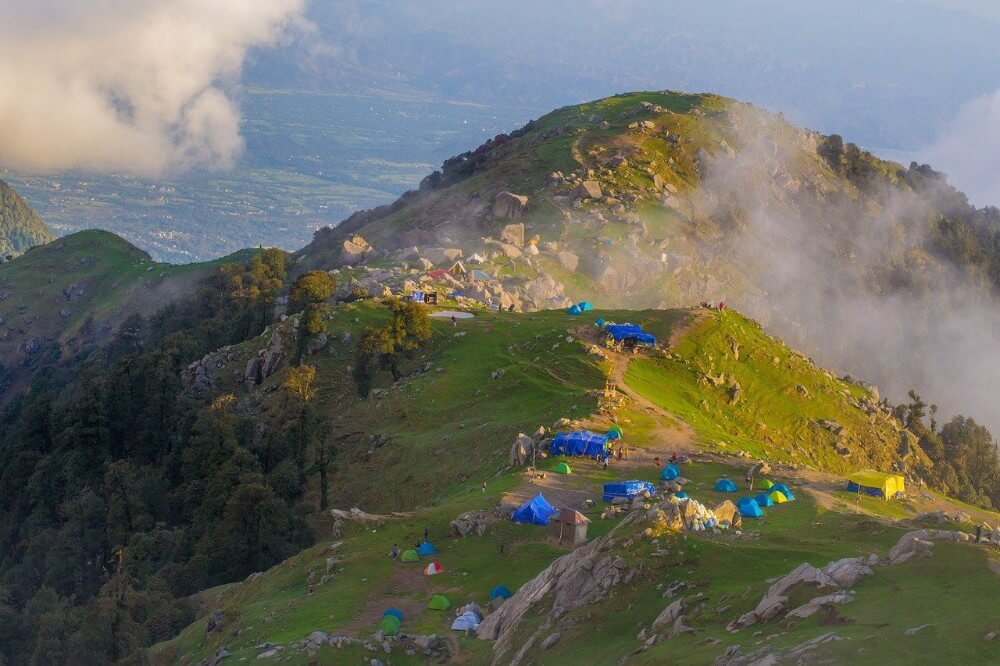 Triund town in the Himachal Pradesh mountains, Indian attractions